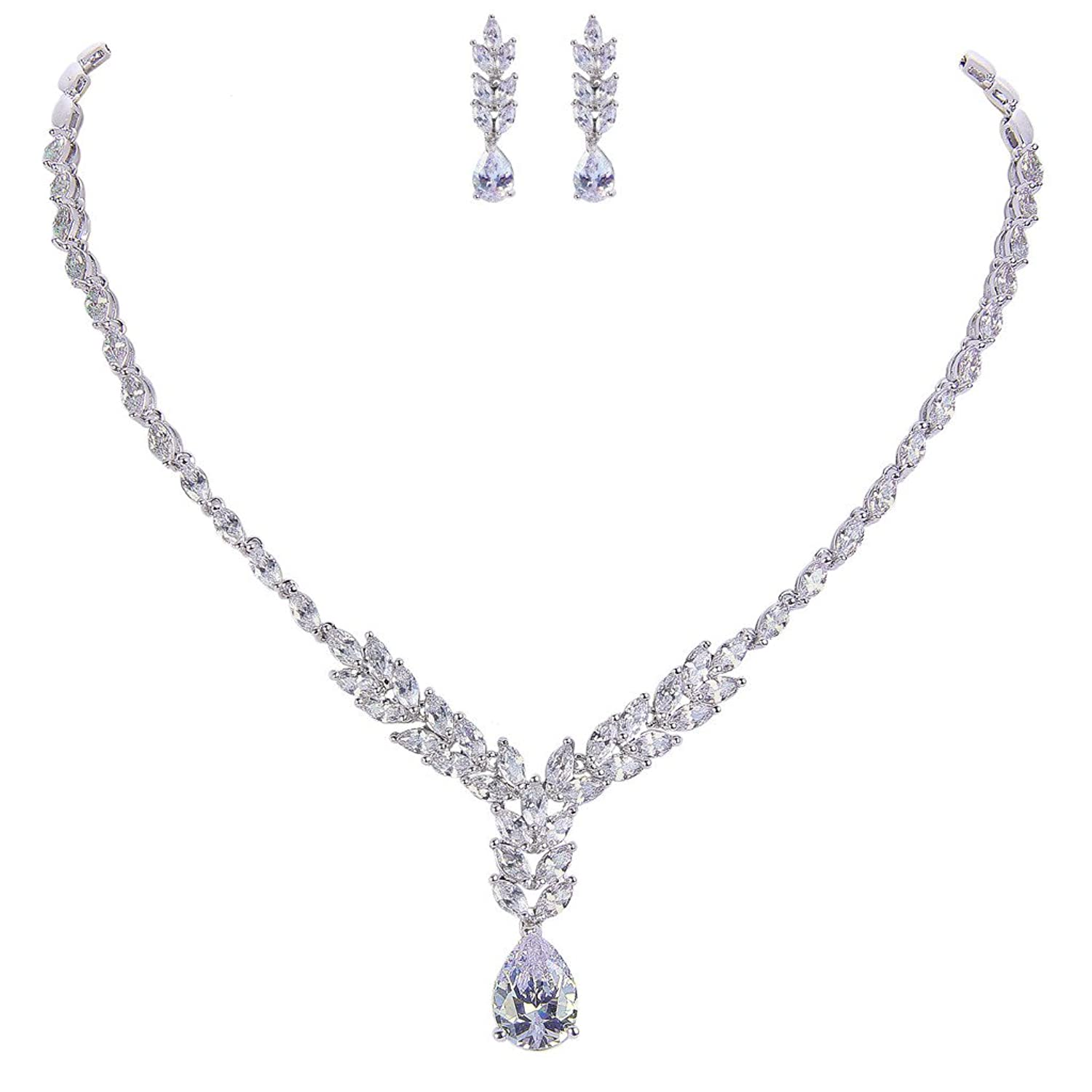 EVER FAITH Silver-Tone Full Cubic Zirconia Elegant Tear Drop Bridal Pendant Necklace Earrings Set Clear