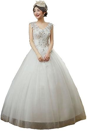 ef6cf52b4fe4e ウエディングドレス 披露宴 花嫁衣装 Aライン レースアップ ロング丈 純白 (S)