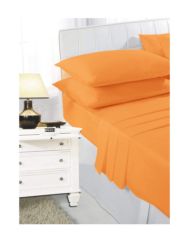 Size 180cm x 254cm Maria Luxury Bedding /& Linen Single Yellow Flat Sheets Plain Dyed Flat Sheet Single Yellow