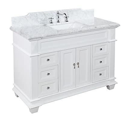 elizabeth 48 inch bathroom vanity carrara white includes white rh amazon com bathroom vanities 48 single sink bathroom vanities 48 inch single sink