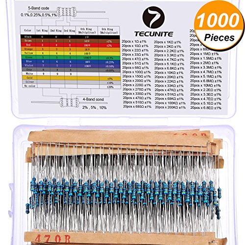 TecUnite 1000 Pieces 50 Values 1% Resistor Kit, 1 Ohm - 6.8E Ohm 1/4W Metal Film Resistors Assortment for DIY and Experiments - 1% Metal Film Resistor