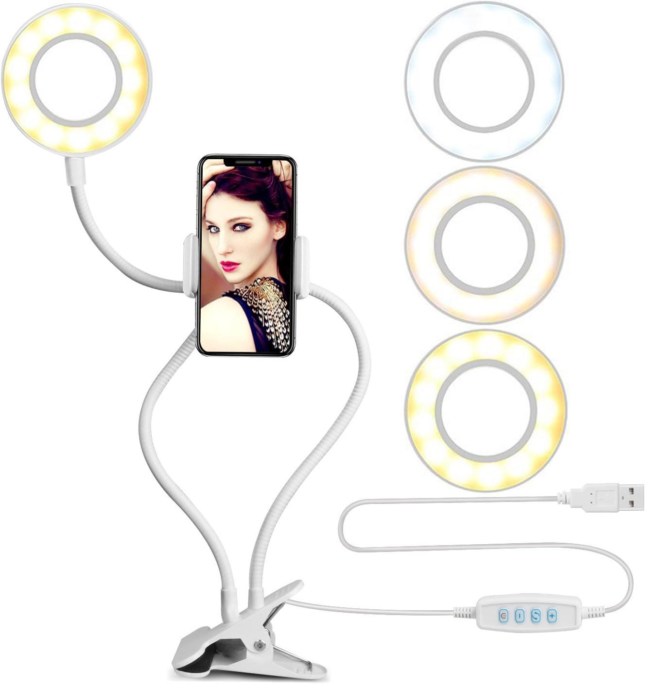 Anillo De Luz Led Para Celulares - Con Soporte, blanco