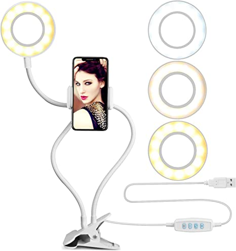 Cell Phone Holder With Selfie Ring Light