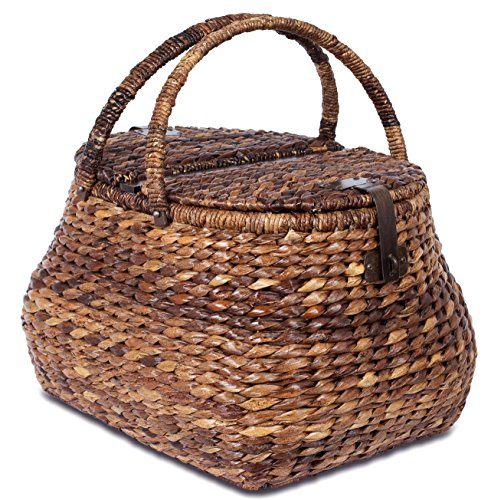 BirdRock Home Seagrass Picnic Basket – Hand Woven – Espresso – Decorative Metal Latches – Divided Lid – Home D cor – Folding Handles