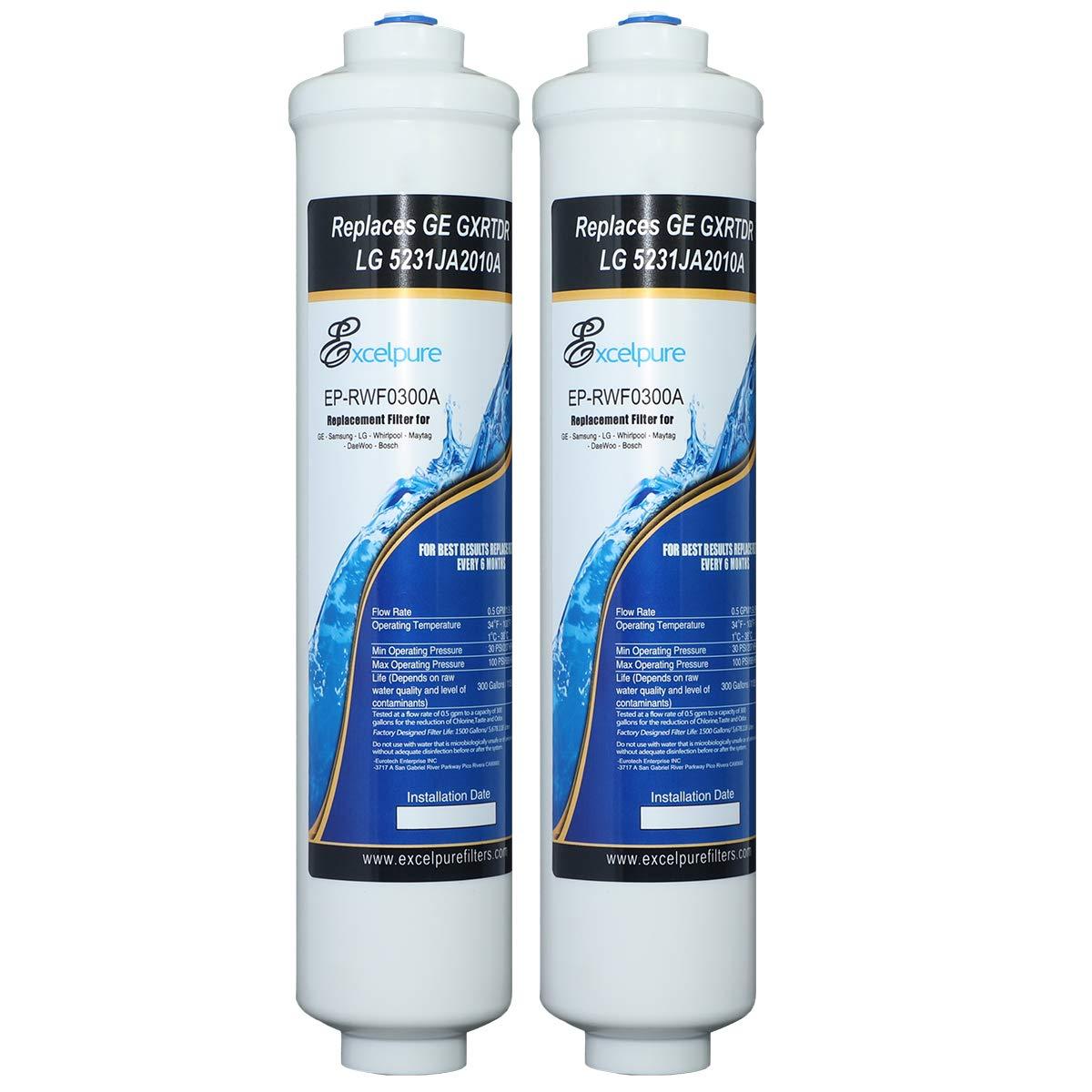 EXCELPURE Inline Water Filter Compatible With GE GXRTDR, GXRTPR, GXRTDQ, Culligan IC-100A,Samsung HAFEX/EXP, DA29-10105J, 4378411RB, Brita WFRF-104, For Refrigerator, IceMaker, RVs, Marines - 2PACK