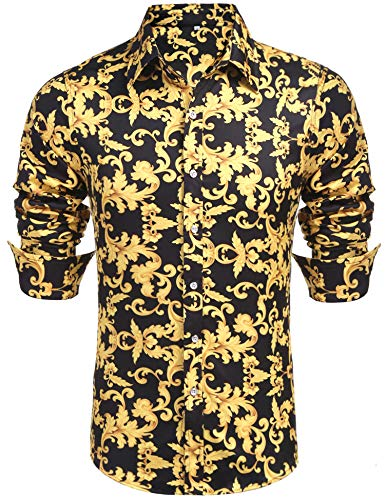 (Daupanzees Mens Long Sleeve Cotton Luxury Design Shows Slim Fit Hawaiian Tropical Party Daily Life Allover Print Dress Shirt (Gold S))