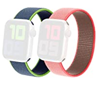 Generic 2 Pack Sport Loop Bands for Apple Watch (Coral Pink 42/44mm & Navy Lime 38/40mm)