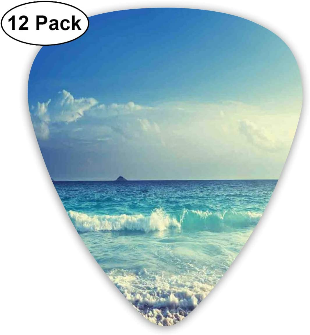 Guitar Picks 12-Pack,Tropical Island Paradise Beach At Sunset Time With Waves And The Misty Sea Image: Amazon.es: Instrumentos musicales