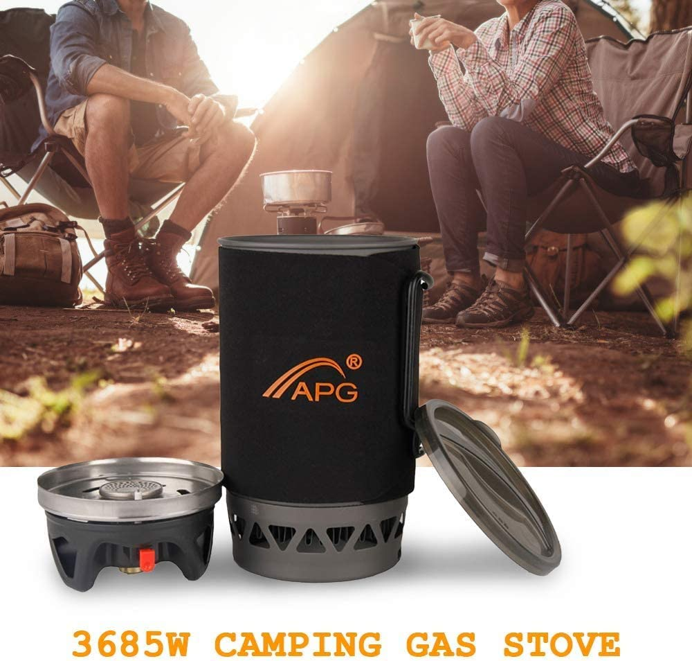 Camping Cookware Set With Stove Burner And Pot Portable Compact Size Gas Stove Outdoor Traveling Cooking Furnace Equipment for Trekking Hiking Picnic Outdoor Gas Stove 1400ML