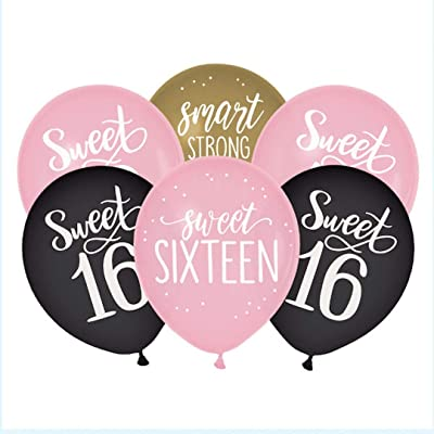"""Sweet Sixteen"" Birthday Assorted Color Latex Party Balloons, 15 Ct.: Toys & Games"