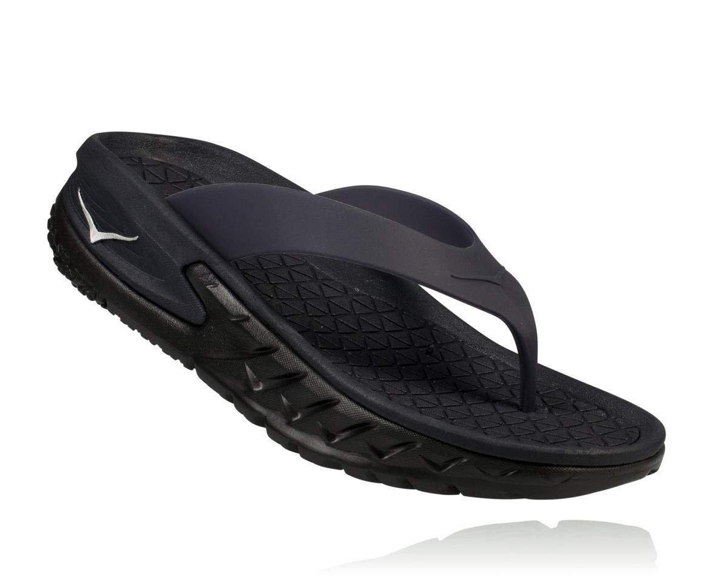 HOKA ONE ONE Womens Ora Recovery Flip Black Thong Sandal - 7