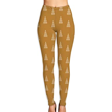 6726c3bf093797 Amazon.com: NGFF Women's Golden White Christmas Tree High Waist Yoga Pants  Workout Comfort Stretchy Leggings: Clothing