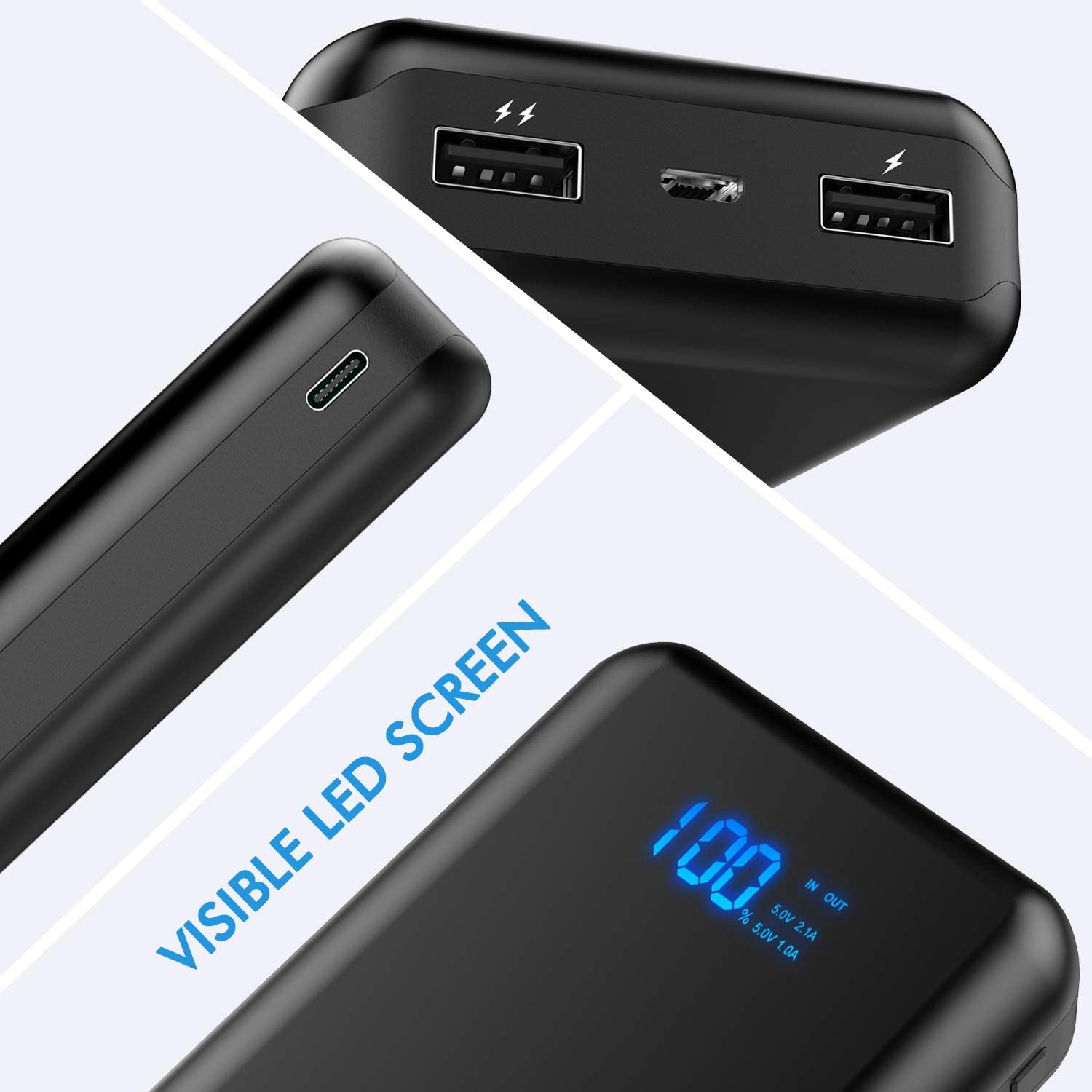 Power Bank Portable Charger 26800mAh Portable Phone Charger with Dual Ports Output,Phone Battery Backup with Visible LED Screen External Charger for iPhone,Samsung Galaxy,iPad and More.