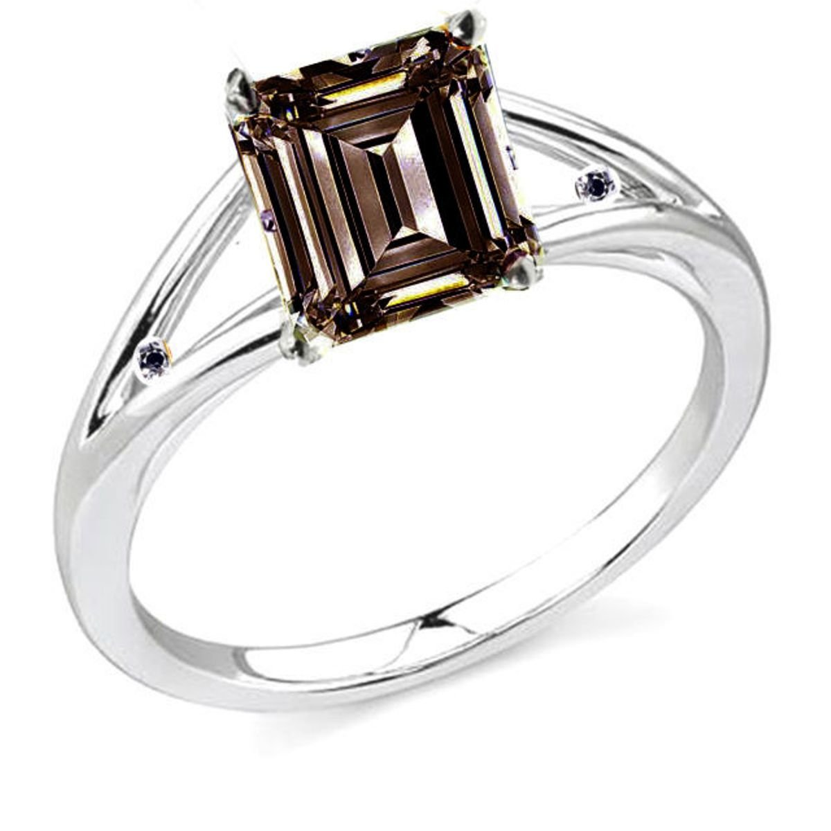 RINGJEWEL 5.31 ct SI2 Emerald Moissanite Solitaire Silver Plated Engagement Ring Brown Color Size 7