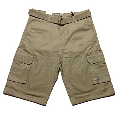 Pro Club Mens Cargo Shorts with Belt Sand 44