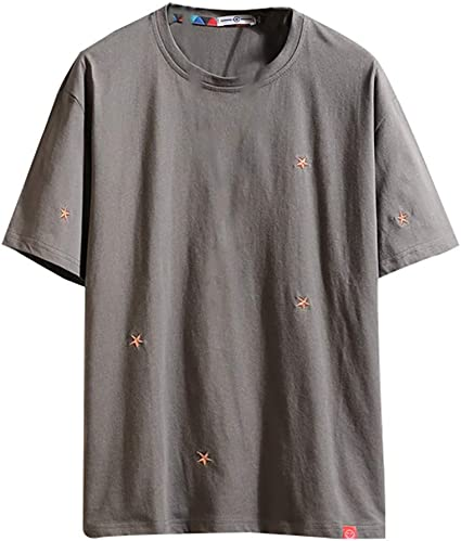 Men/'s Summer Loose Round Neck Casual T-shirt Solid Color Short Sleeve Blouse