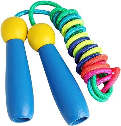 Children Kids Adjustable Wooden Handled Skipping Rope Grip Outdoor Jump Toy