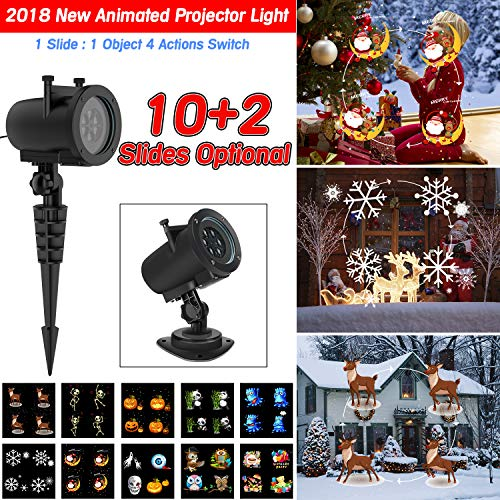 Halloween Christmas Projector Lights, Led Projector Lights with 12pcs Slides Patterns IP65 Waterproof Outdoor Indoor Projection Lights for Holiday Home Birthday Party