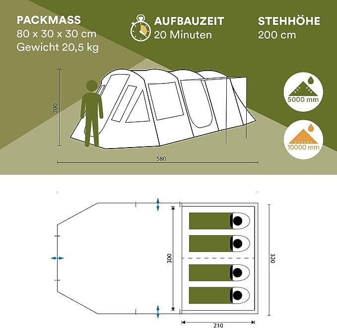 Skandika Nordland Tunnel Tent with Sewn-In Groundsheet 200 cm Peak Height