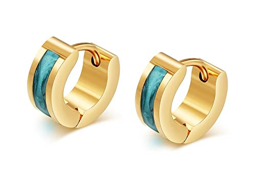 a697bf781 Buy Asma 18K Gold Plated Blue Enamel Small Huggie Hoop Earrings for Men &  Women Online at Low Prices in India | Amazon Jewellery Store - Amazon.in