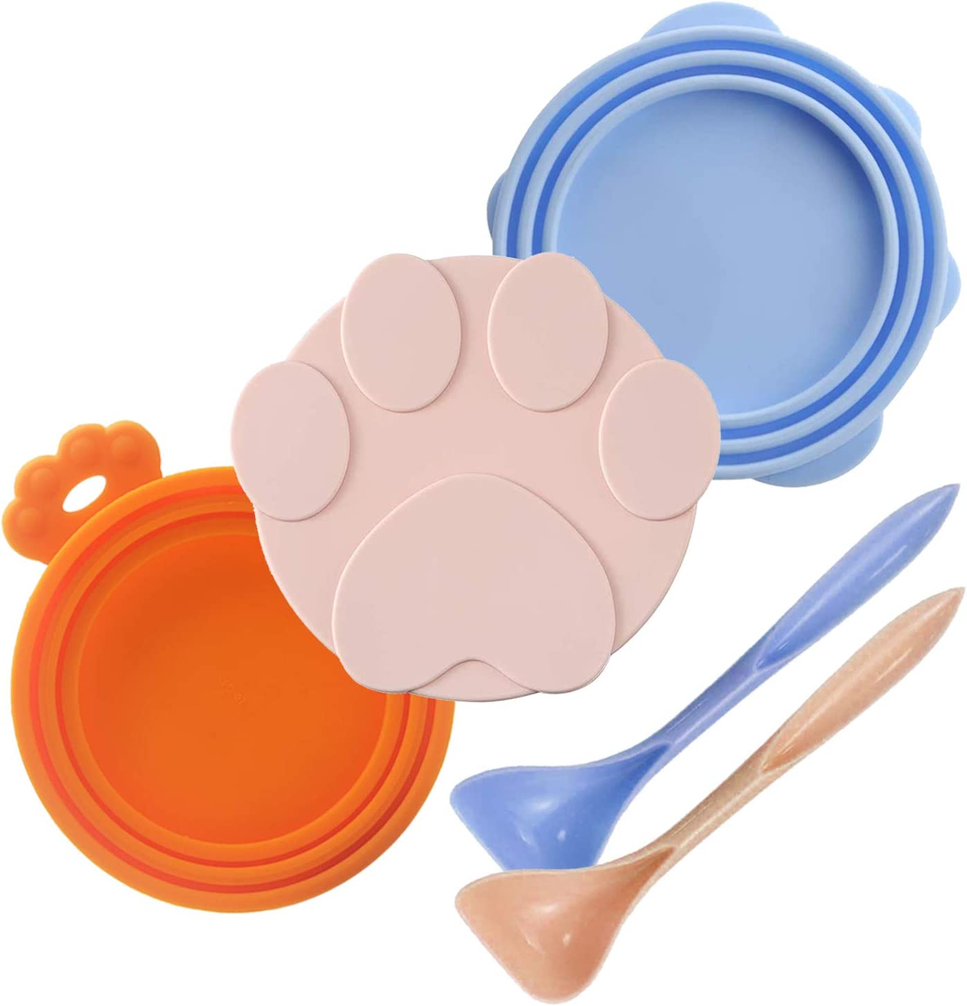 DLDER 3 Pieces Can Lids Pet Food Can Cover Set with 2 Spoons, Universal Silicone Cat Food Can Lid,1 Fit 3 Standard Size Cat Food Lids for Dog Food, Dishwasher Safe(Blue, Pink, and Orange)