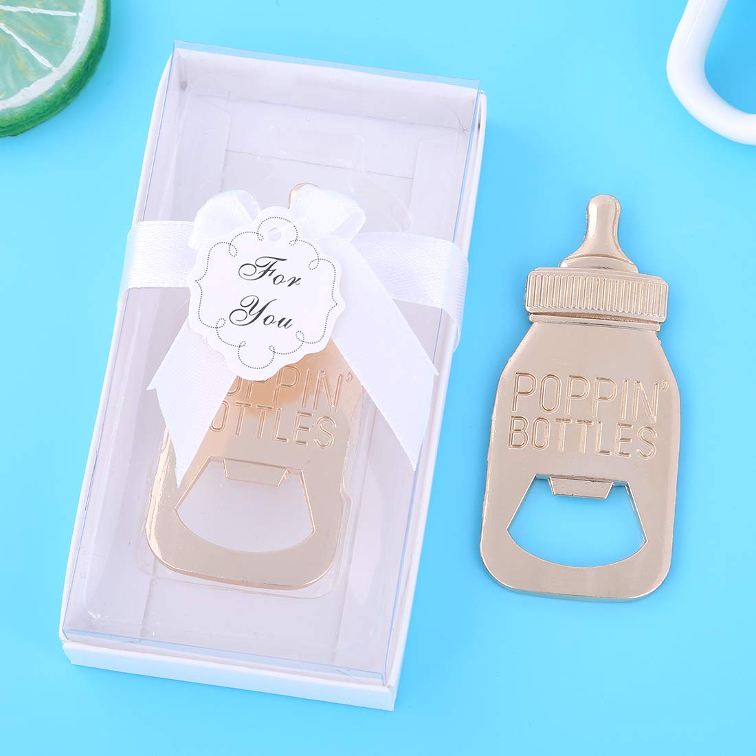 Pack of 36 Baby Shower Return Gifts for Guest Supplies Poppin Baby Bottle Shaped Bottle Opener Wedding Favor with Exquisite Packaging Party Souvenirs Gift Decorations by WeddParty (White, 36)