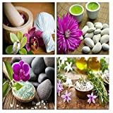 NAN Wind 4 Piece Zen Canvas Wall Art Spa Still Life With Purple Flower and Zen Stone Painting Pictures for Home Decoration Modern Painting Wall Decor Canvas