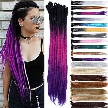 Dreads Extension Dreadlock Hair Rasta Pigtails Fibras sintéticas Trenzas Cabello 60cm, Paquete de 5 hebras, Negro/Fucsia/Morado