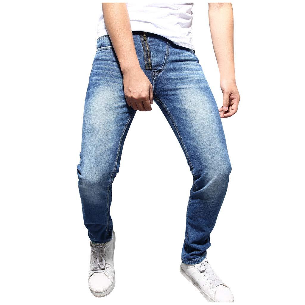 Aleola Men Pure Color Zipper Denim Vintage Wash Hip Hop Work Trousers Jeans Pants (Blue,34) by Aleola_Men's Pants