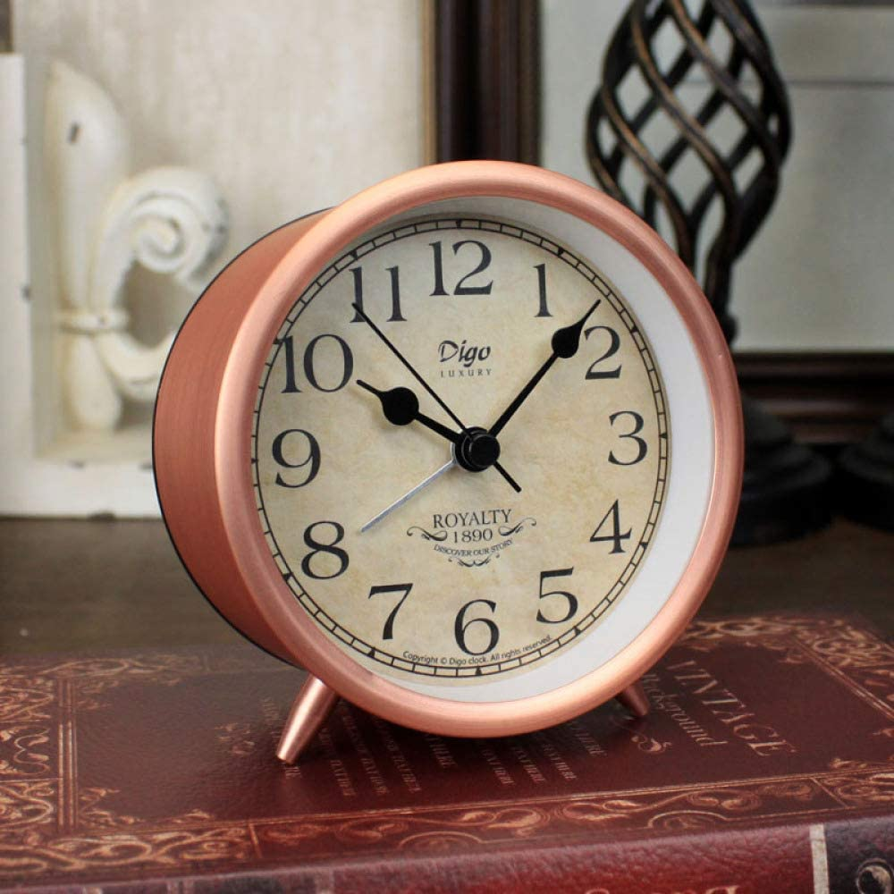 GYHJG Imitación Rojo Cobre Metal Número Romano Reloj Despertador Cobre Antiguo Retro Americano Creativo Reloj Mudo Reloj Despertador 4 Pulgadas