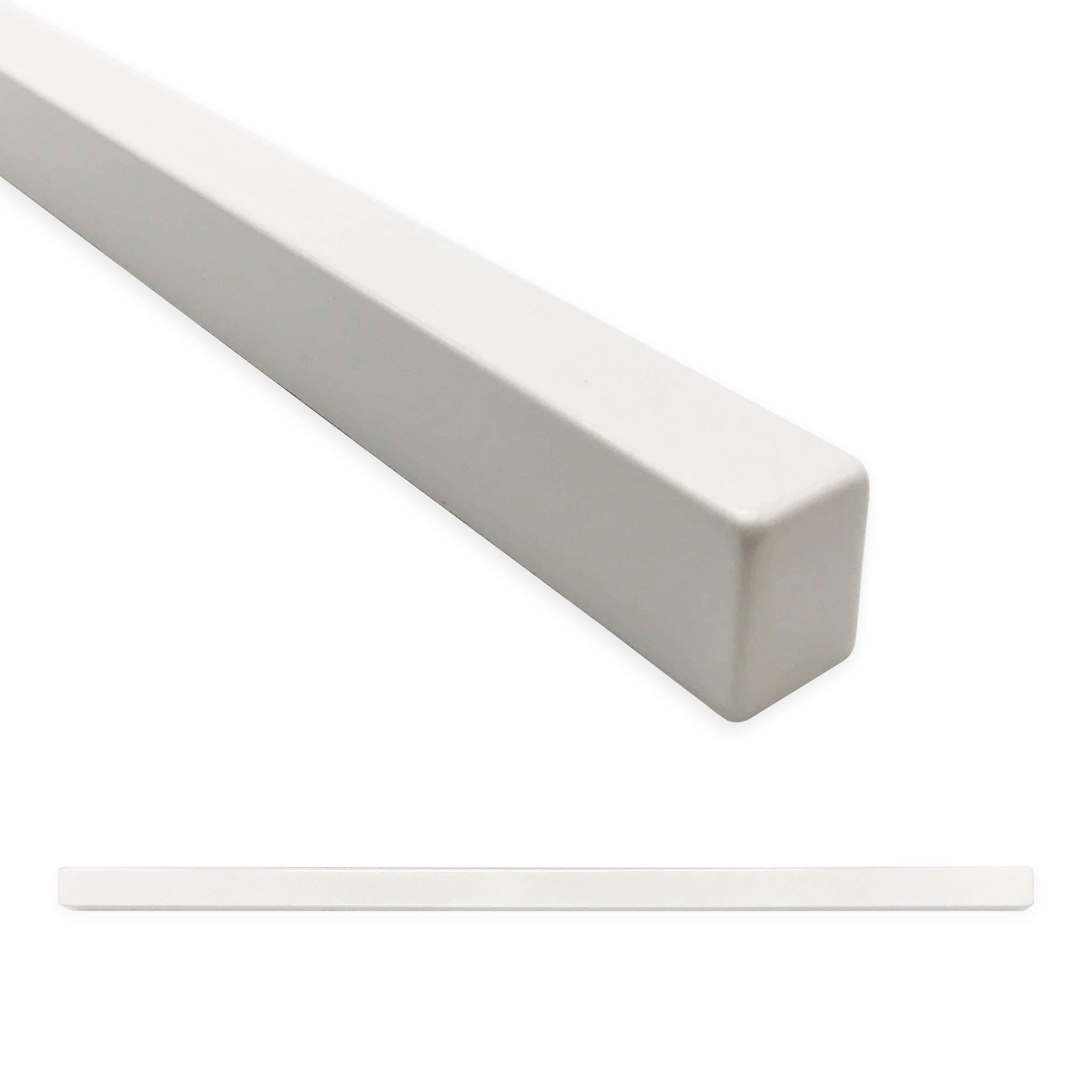 Bright White Linear Square 1/2 X 12 inch Pencil Liner Trim Pieces | Molding Tile for Kitchen Bathroom Ceramic Tile Finishing (12 Pack, Matte Bright White) by Questech
