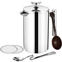 TOPELEK French Cafetiere Coffee, French Press with Stainless steel,