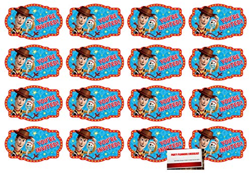 ((16 Pack) Toy Story Part 4 Postcard Style Party Invitations with Envelopes, Seals and Save The Date Stickers (Plus Party Planning Checklist by Mikes Super Store))