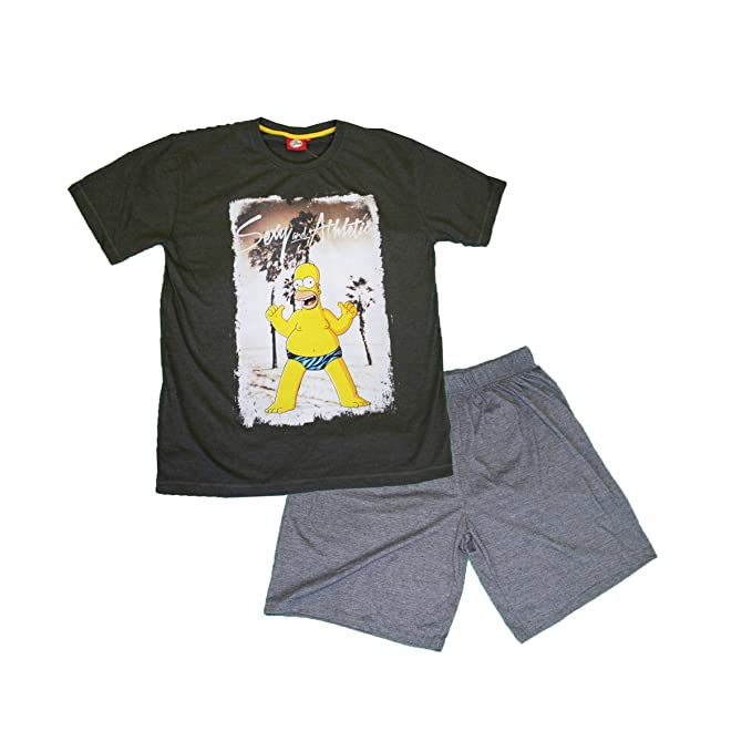 Simpsons - Pijama - para Hombre Gris/Negro Medium