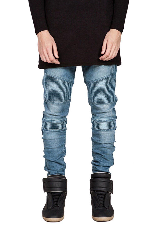 Wenseny Mens Ripped Wrinkled Moto Biker Jeans Slim Fit Washed Denim Pants Blue 44