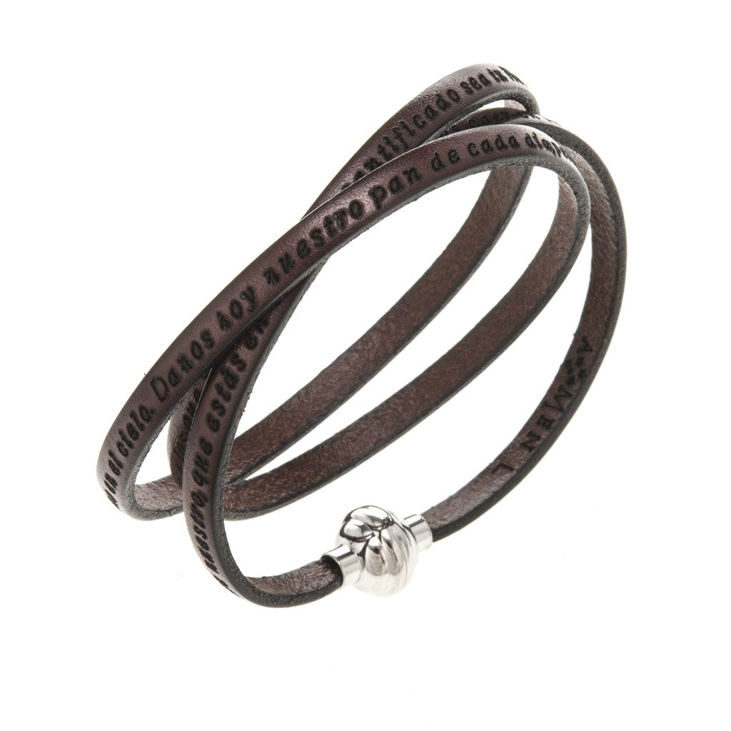 Holyart Amen Bracelet in brown leather Our Father SPA, 57 cm (22.46 inc.)
