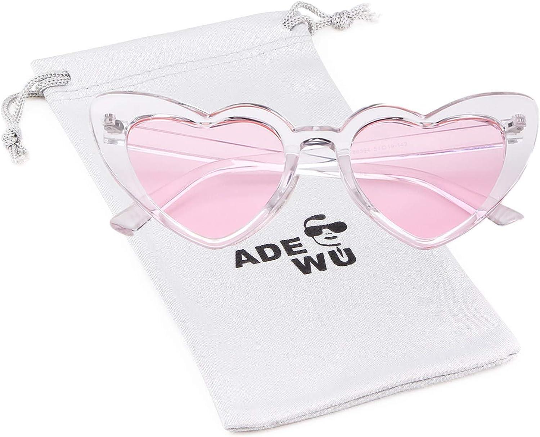 ADEWU Lunettes de Soleil en Forme de Coeur A - Transparent(frame)+pink(lens)