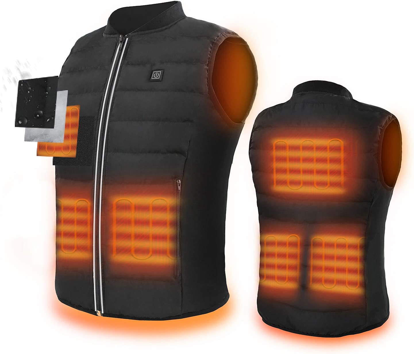 ZLTFashion 5V Heated Vest,USB Charging Electric Lightweight Body Warmer Clothes Washable Heating Pad Apparel Jacket for Men & Women Hiking, Hunting, Motorcycle, Camping (Battery Not Included)