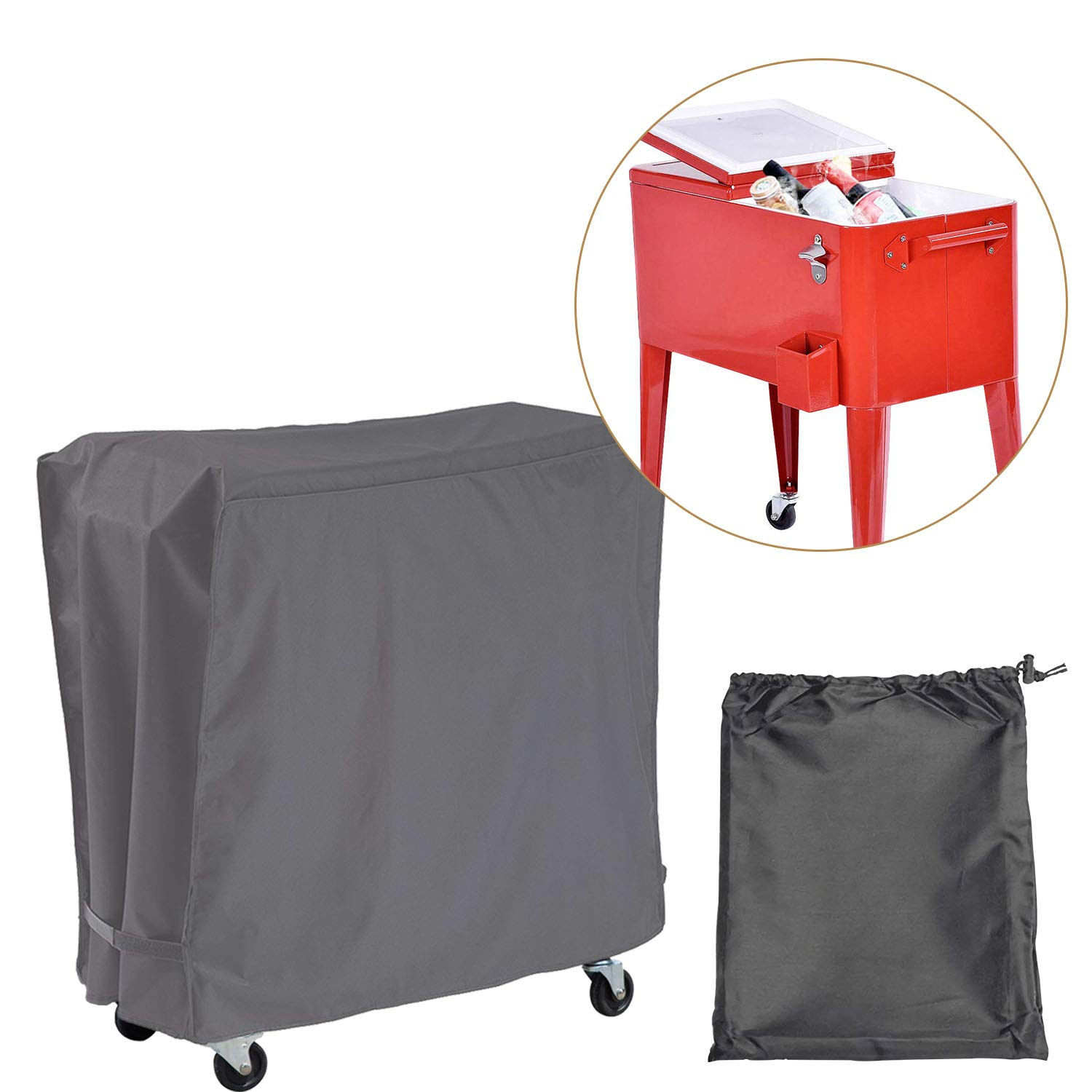 Covolo Outdoor Cooler Cart Cover with UV Coating- Fits 80 Quart Rolling Coolers Patio Cooler,Beverage Cart, Rolling Ice Chest, Waterproof Protective Cover (Grey) by Covolo