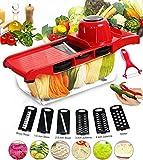 Mandoline Slicer - Fukaitsy Vegetable Slicer 6 Adjustable Blades with Peeler, Vegetable Cutter, Potato Slicer Grater & Julienne
