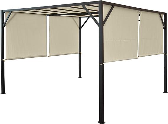 Baia - Pergola para jardín, cenador con estructura estable de aluminio de 6 cm, lonas ajustables para el techo, 4 x 3 m: Amazon.es: Jardín