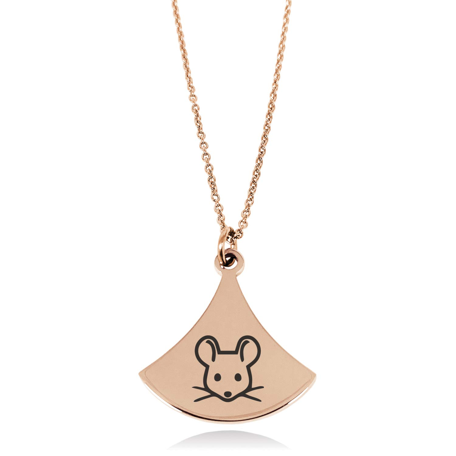 Stainless Steel Mouse Icon Pendulum Curved Triangle Charm Pendant Necklace