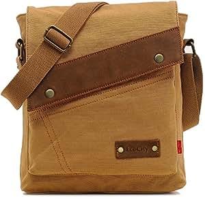 EcoCity Vintage Small Canvas Messenger Bags Crossbody Shoulder iPad Bags Sling Bag For Men & Women MB0002K1 (Khaki)