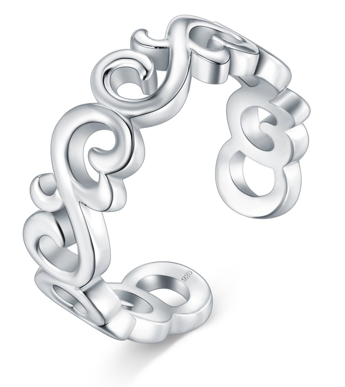 BORUO 925 Sterting Silver Toe Ring Celtic Knot Adjustable Band Ring