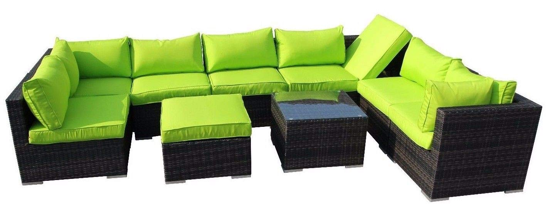 HongTeng Muebles de jardín modulares sofá de Mimbre ratán ...