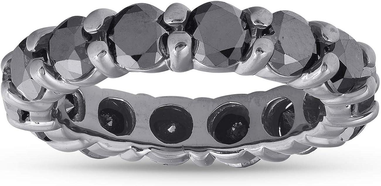 3 1/2ct Black Diamond Black Gold Eternity Stackable Ring