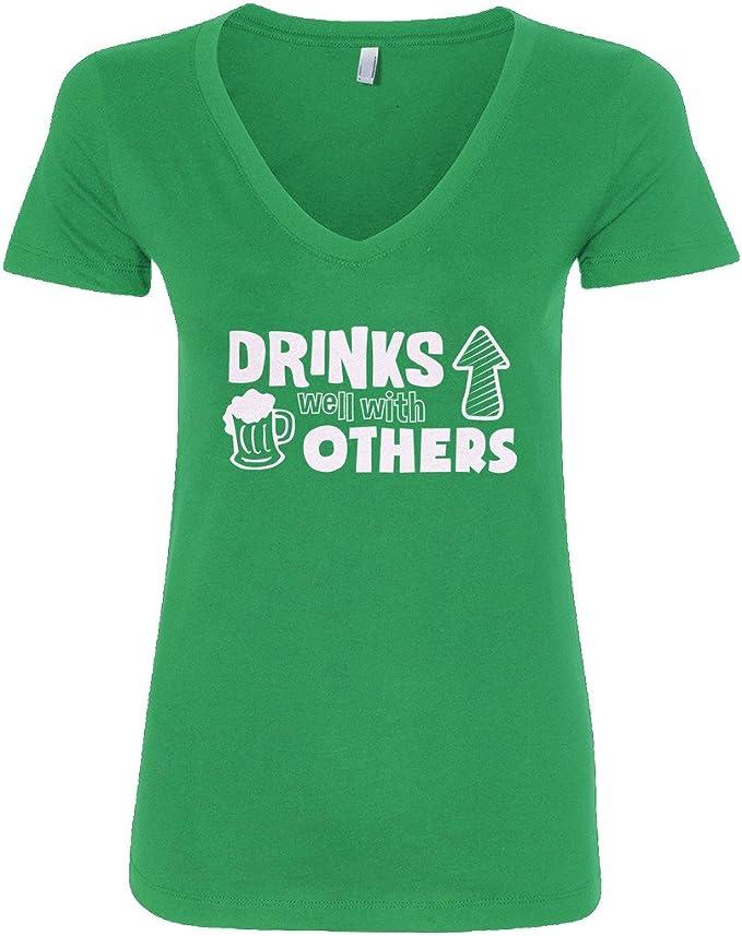 Comical Shirt Ladies Drunk On Dreaming Triblend V-Neck