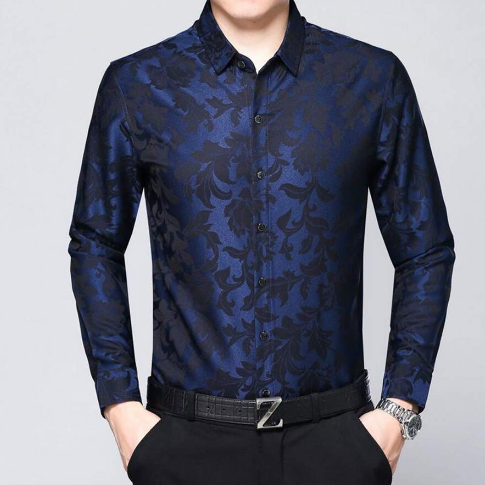 YaXuan Herrenhemden, Herbst Winter Mercerized Baumwollhemd Mode mittleren Alters beiläufige Revers dünne  Herren Shirt (Farbe : EIN, Größe : M/105/165)