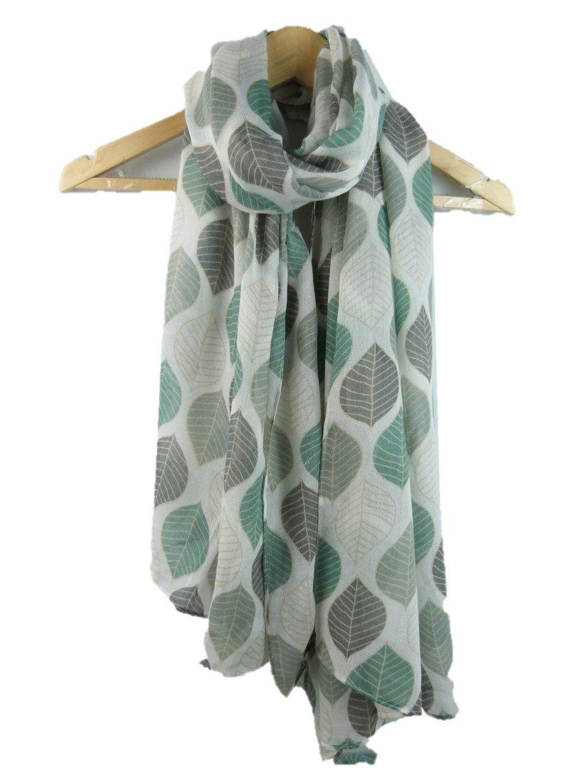 Claudia & Jason Newly Designed Beautiful Leaves Print Large Size - All Seasons Scarf