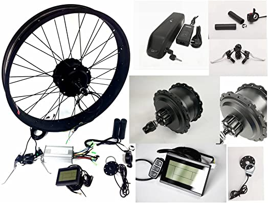 NBPower 2018 20 24 26 48V 750W Electric Bike Fat Tire Conversion Kit, 750W DC Brushless Geared Hub Motor, Fat Snow Bike Kit with 48V 12.8Ah hailong Lithium Battery and LCD Display.
